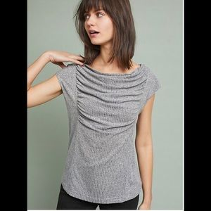 Meadow Rue Gray Fillmore Draped Front Blouse XS